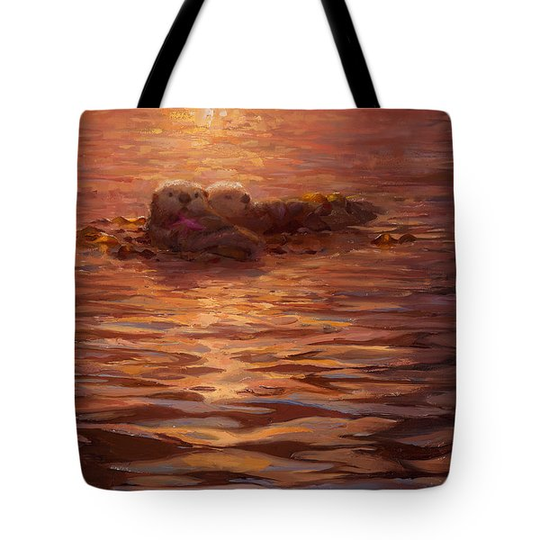 Tote Bag featuring the painting Sunset Snuggle - Sea Otters Floating With Kelp At Dusk by Karen Whitworth