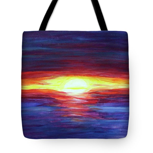 Tote Bag featuring the painting Sunset by Sonya Nancy Capling-Bacle