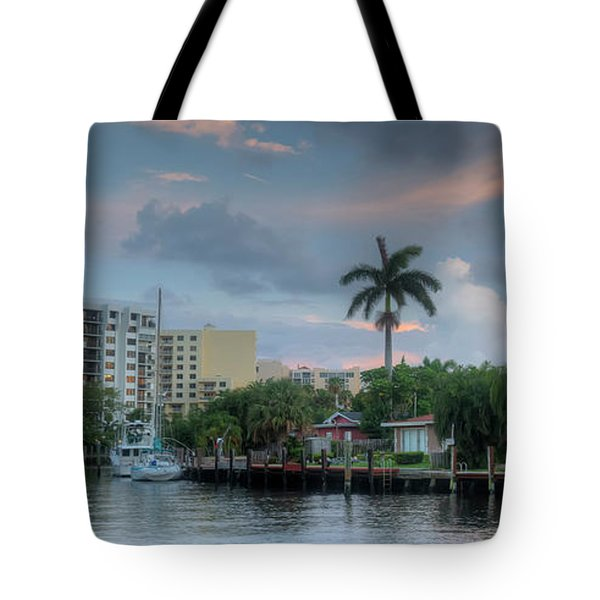 sunset South Florida canal Tote Bag