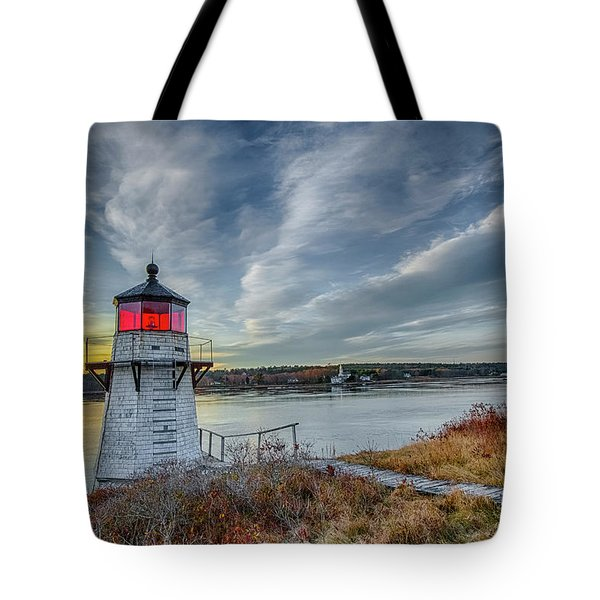 Sunset, Squirrel Point Lighthouse Tote Bag