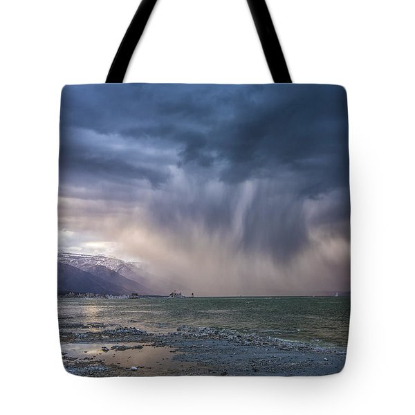 Sunset Storm Over Mono Lake Tote Bag by Janis Knight