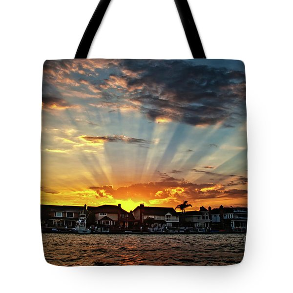 Sunset Sunrays Over Huntington Harbour Tote Bag