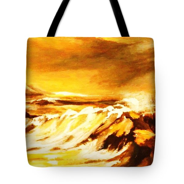 Tote Bag featuring the painting Sunset Surf by Al Brown