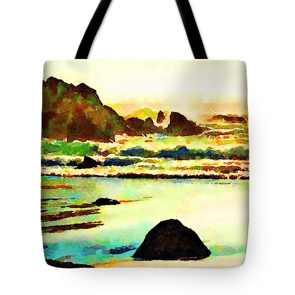 Tote Bag featuring the painting Sunset Surf by Angela Treat Lyon