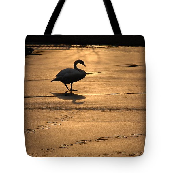 Tote Bag featuring the photograph Sunset Swan by Richard Bryce and Family