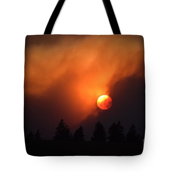 Sunset Through Smoke Tote Bag