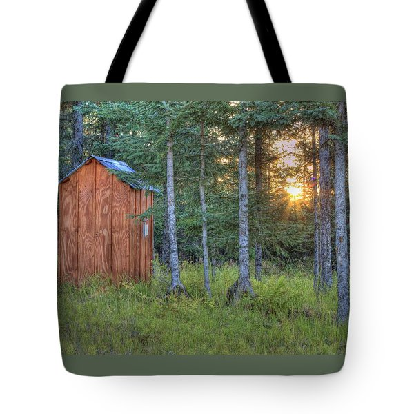 Sunset Through Spruce Tote Bag