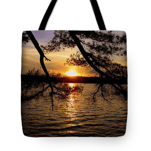 Sunset Through The  Pines Tote Bag