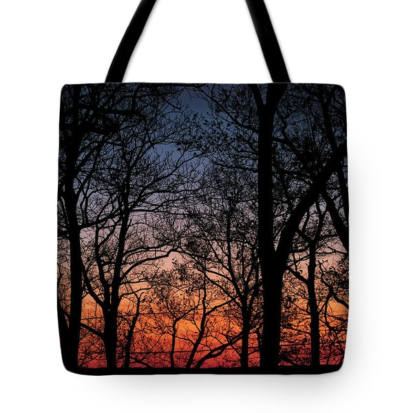 Tote Bag featuring the photograph Sunset Through The Trees by Mark Dodd