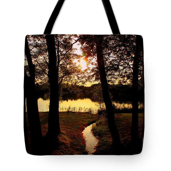 Sunset Through The  Trees Silver Lake  Wilmimngton Tote Bag