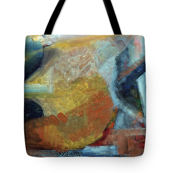 Tote Bag featuring the painting Sunset Thru Buildings by Walter Fahmy