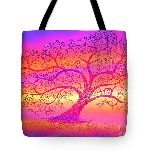 Tote Bag featuring the painting Sunset Tree Cats by Nick Gustafson