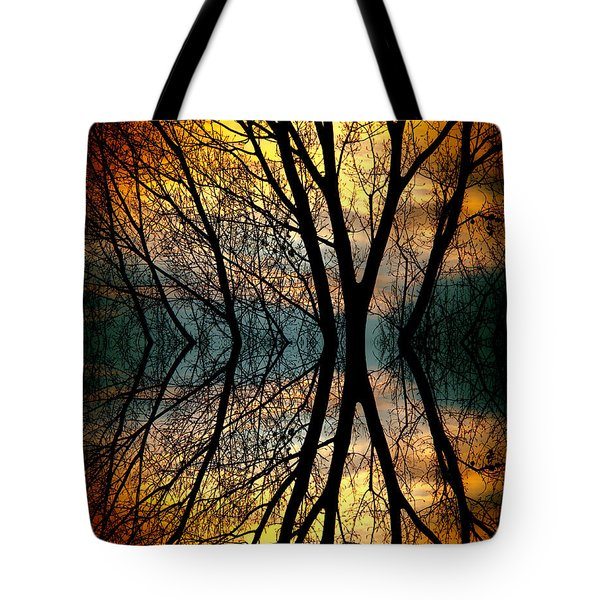 Sunset Tree Silhouette Abstract 3 Tote Bag by James BO  Insogna