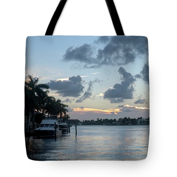 Sunset Tropical Canal Tote Bag