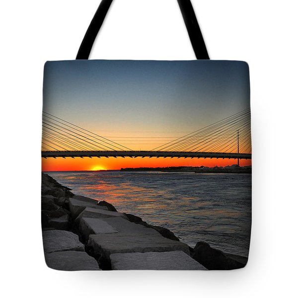 Sunset Under The Indian River Inlet Bridge Tote Bag