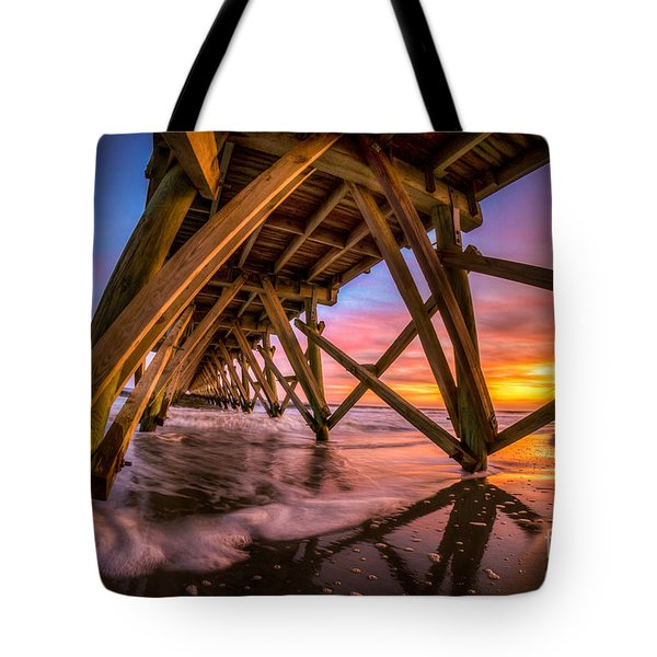 Sunset Under The Pier Tote Bag