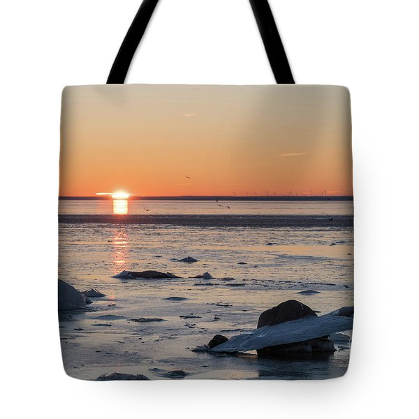 Tote Bag featuring the photograph Sunset View By An Icy Coast by Kennerth and Birgitta Kullman