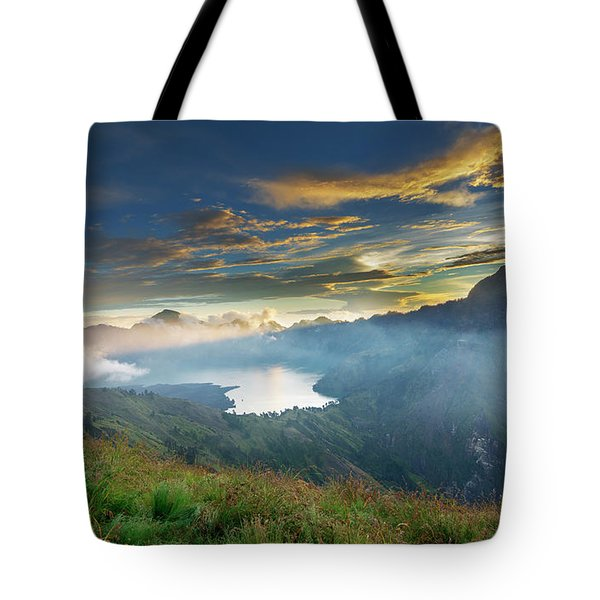 Tote Bag featuring the photograph Sunset View From Mt Rinjani Crater by Pradeep Raja Prints