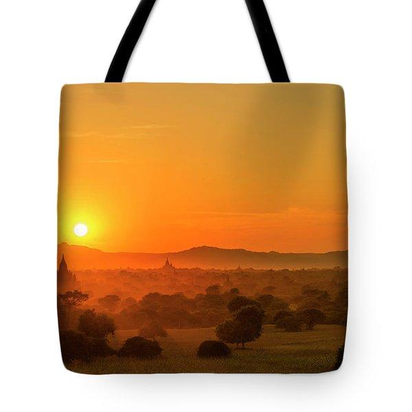 Tote Bag featuring the photograph Sunset View Of Bagan Pagoda by Pradeep Raja Prints