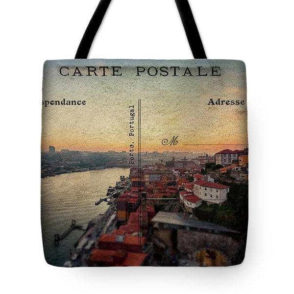 sunset view of the Douro river and old part of  Porto, Portugal Tote Bag