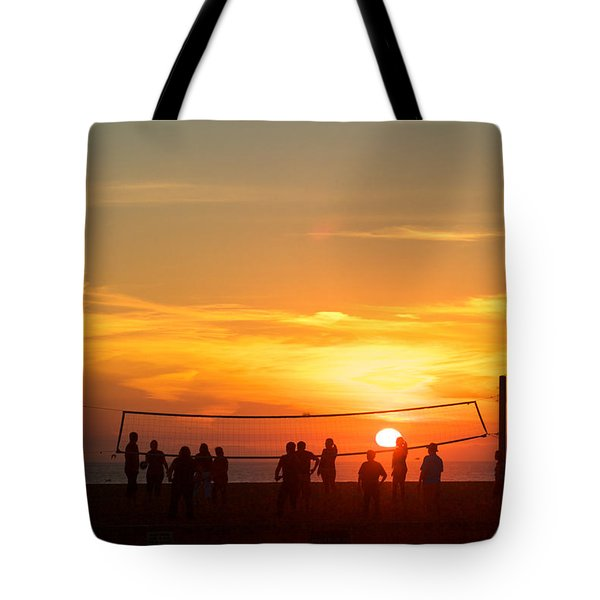 Sunset Volleyball Tote Bag