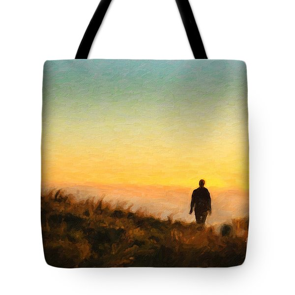 Tote Bag featuring the painting Sunset Walk by Chris Armytage
