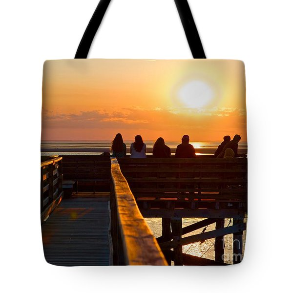 Tote Bag featuring the photograph Sunset Watching At Grays Beach Boardwalk by Amazing Jules