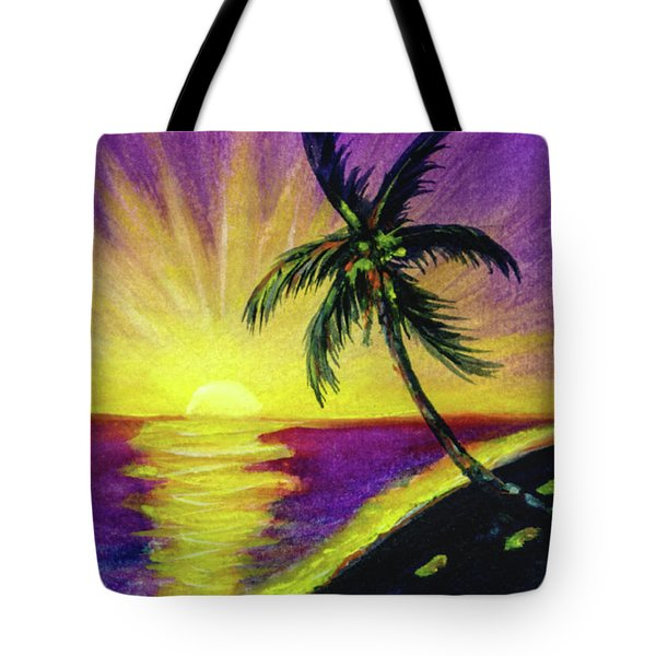 Sunset Water Color Footprints #26 Tote Bag by Donald k Hall