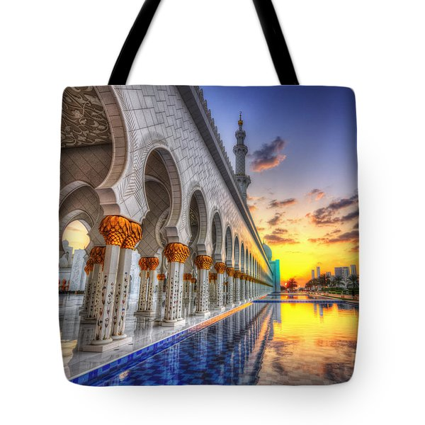 Tote Bag featuring the photograph Sunset Water Path Temple by John Swartz