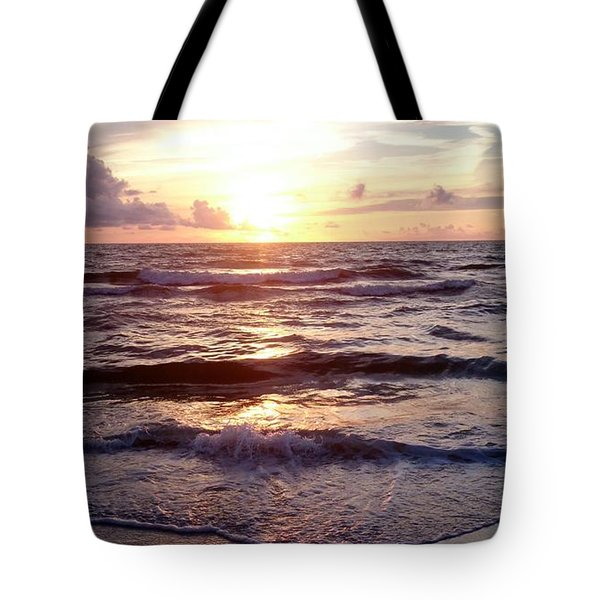 Tote Bag featuring the photograph Sunset Waves 1 by Vicky Tarcau