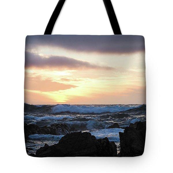 Sunset Waves, Asilomar Beach, Pacific Grove, California #30431 Tote Bag