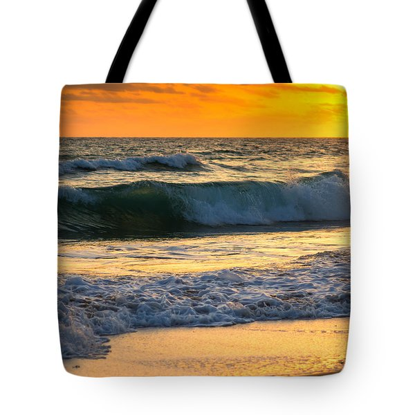 Tote Bag featuring the photograph Sunset Waves by Rebecca Hiatt