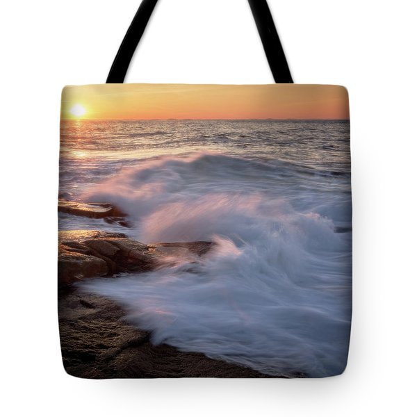 Tote Bag featuring the photograph Sunset Waves Rockport Ma. by Michael Hubley