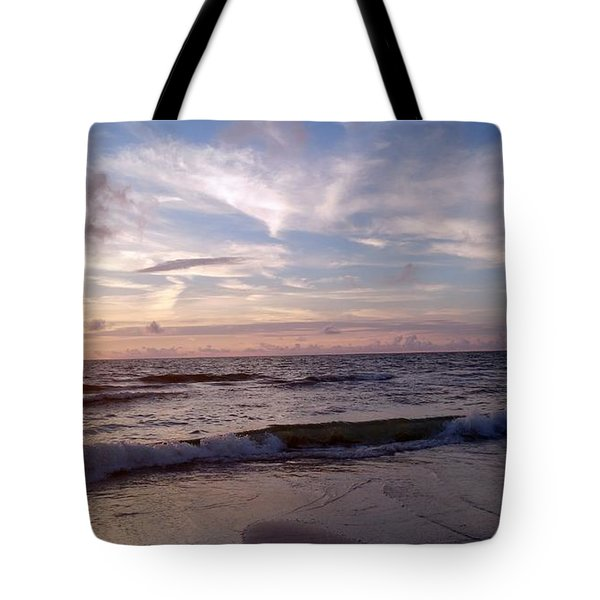 Tote Bag featuring the painting Sunset Waves  by Vicky Tarcau
