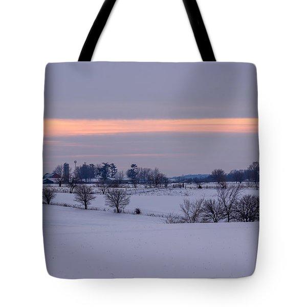 Sunset Winter Farm Fields In Iowa Tote Bag