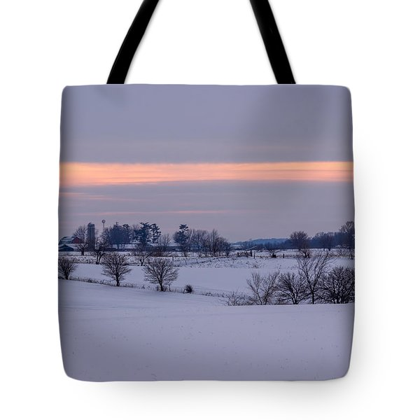 Sunset Winter Farm Fields In Iowa Tote Bag