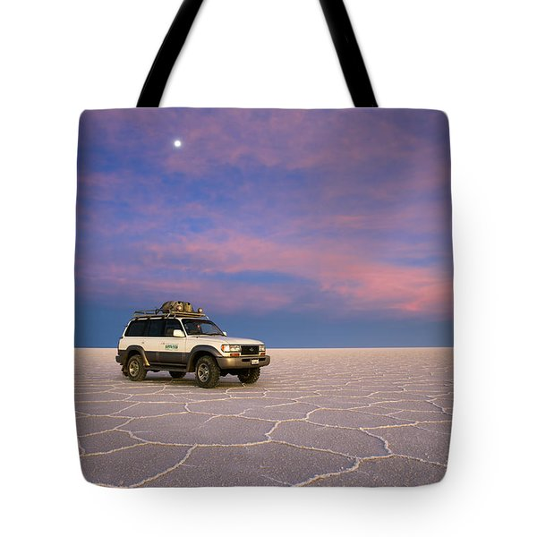 Lake Uyuni Sunset With Car Tote Bag by Aivar Mikko