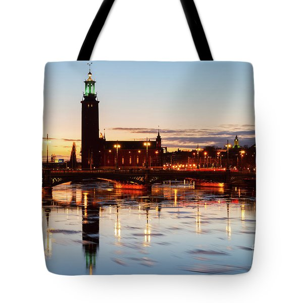 Sunset With Cityhall Of Stockholm Tote Bag