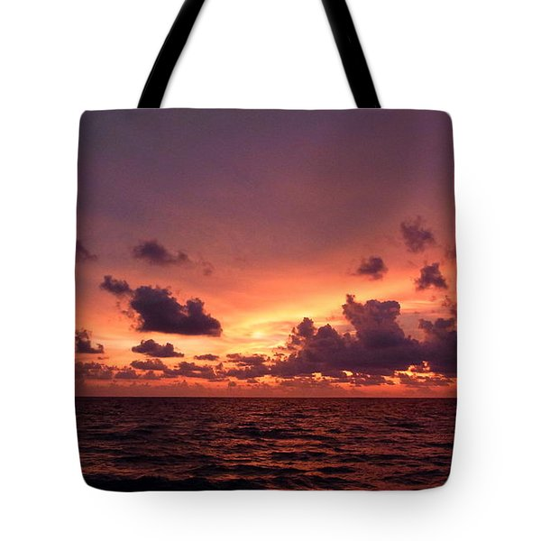 Sunset With Deep Purple Clouds Tote Bag