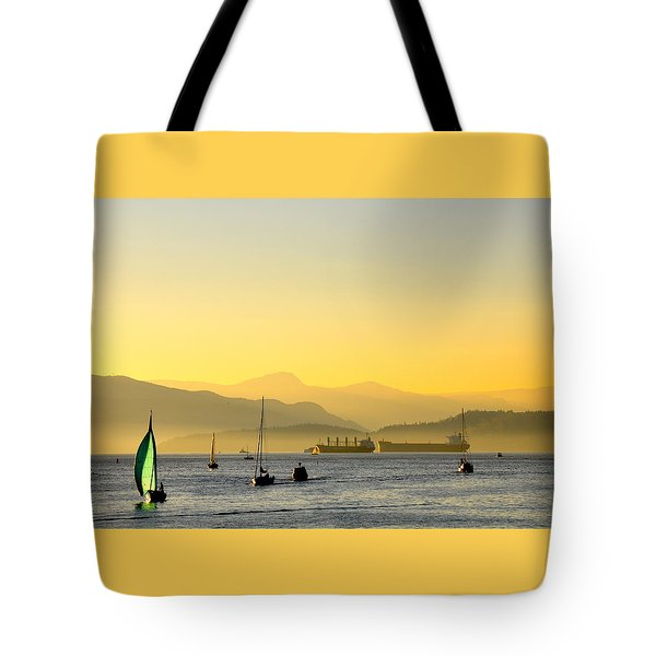 Sunset With Green Sailboat Tote Bag