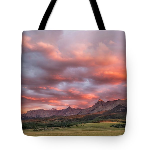 Sunset With Rain Clouds Tote Bag