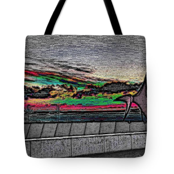 Sunset With The Eagle Tote Bag by Tim Allen