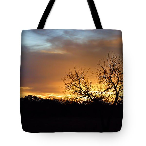 Sunset With Tree Silhouette Tote Bag by Linda Phelps