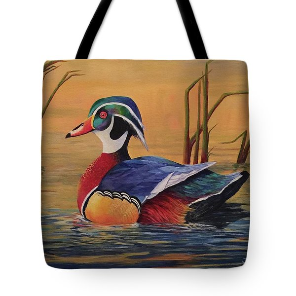 Sunset Wood Duck Tote Bag