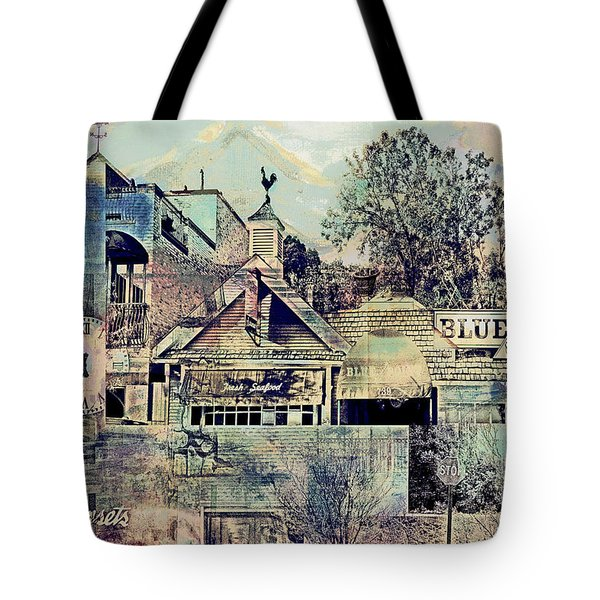 Tote Bag featuring the digital art Sunsets And Blue Point Collage by Susan Stone