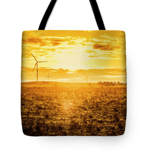 Sunsets And Golden Turbines Tote Bag