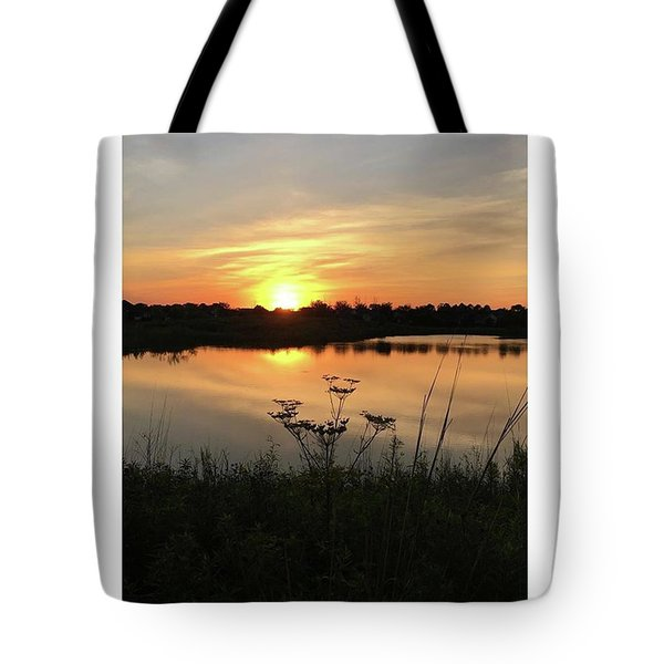 Amber Sunset By The Lake Tote Bag