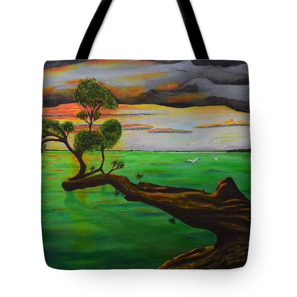 Tote Bag featuring the painting Sunsetting by Melvin Turner