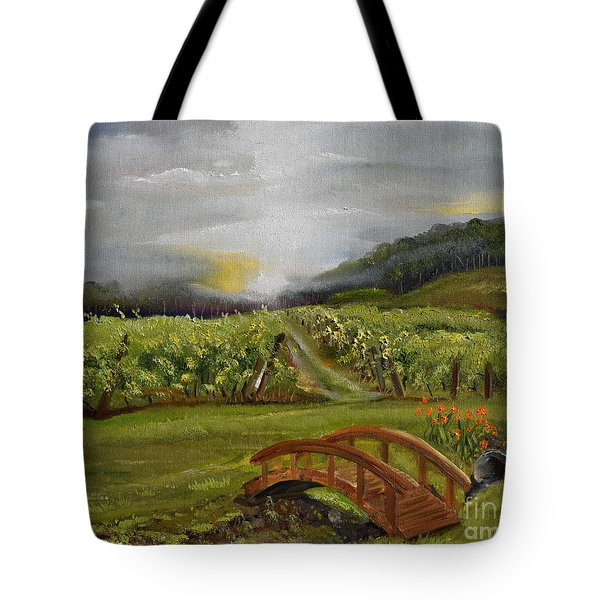 Tote Bag featuring the painting Sunshine Bridge At The Cartecay Vineyard - Ellijay Ga - Vintner's Choice by Jan Dappen