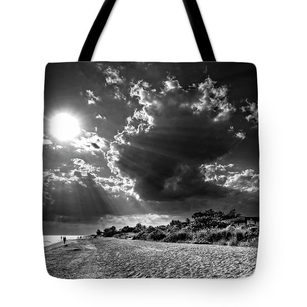 Sunshine On Sanibel Island In Black And White Tote Bag